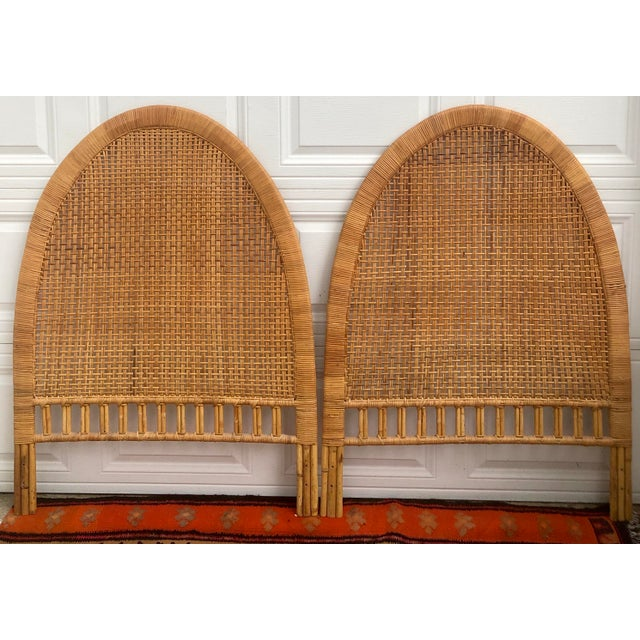 Vintage Mid-Century Arched Cane Bamboo Rattan Buri Twin Headboards - a Pair For Sale - Image 10 of 10