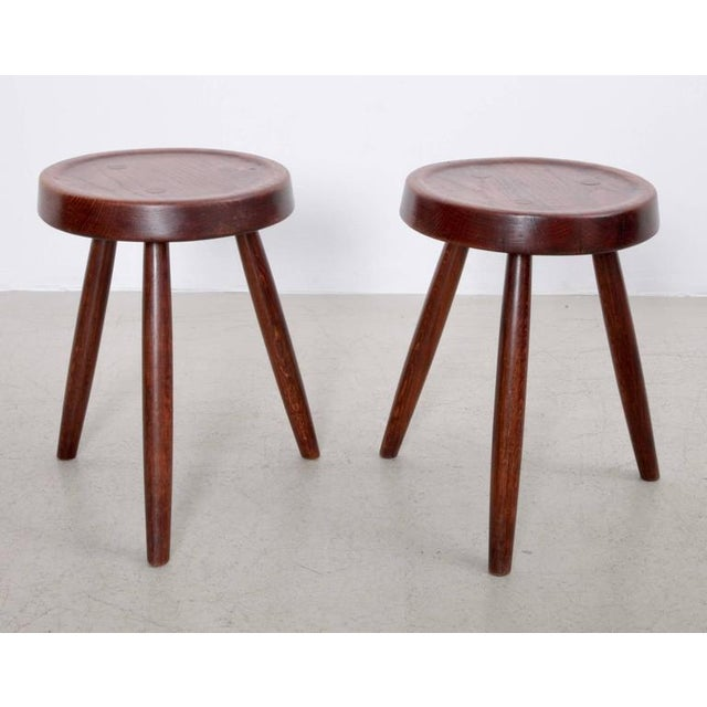 French Pair of French Solid Oak Stools, 1950s For Sale - Image 3 of 6