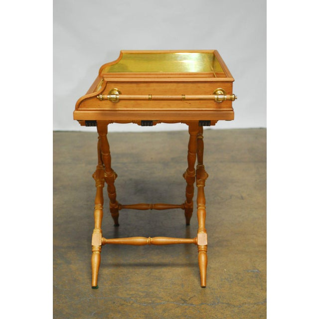 Vintage Italian Pine & Brass Butler's Tray Table For Sale - Image 5 of 8