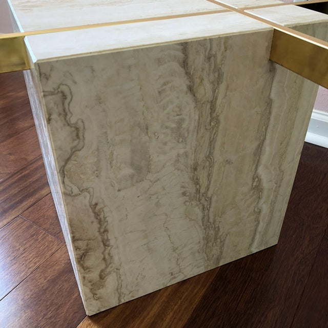 Artedi 1970s Hollywood Regency Artedi Travertine and Brass Glass Topped Cocktail Table For Sale - Image 4 of 7
