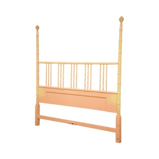 Kittinger Hollywood Regency Faux Bamboo Painted King Size Poster Bed Headboard For Sale