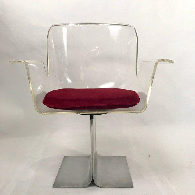 Pace Collection Pair of Pace Lucite & Aluminum Dining or Conference Swivel Chairs by i.m. Rosen For Sale - Image 4 of 13