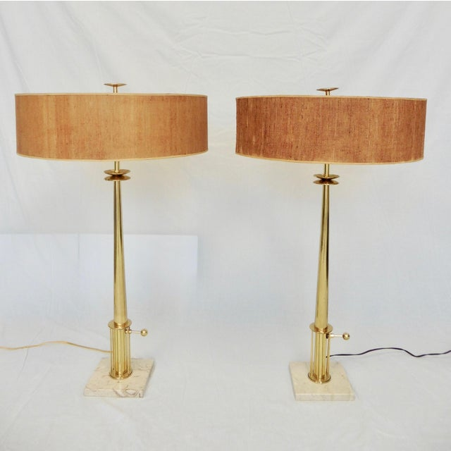 Mid-Century Modern Tommi Parzinger Brass Candlestick Lamps - a Pair For Sale - Image 10 of 10