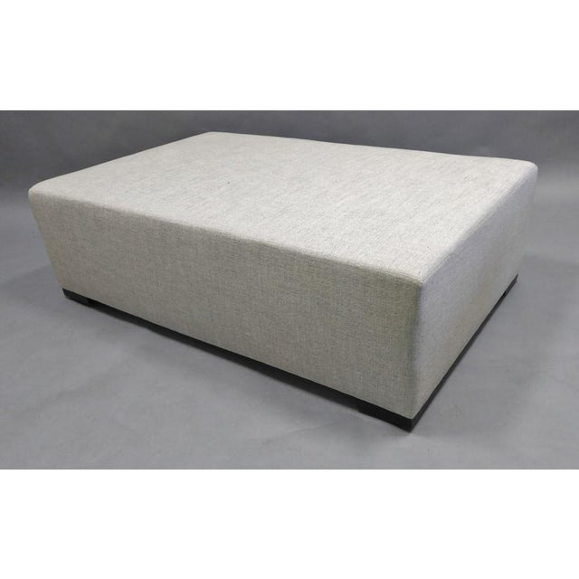 Gray Upholstered Ottoman with Hidden Casters in Dedar Fabric For Sale - Image 8 of 8