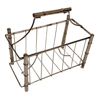 Mid-Century Chrome Faux Bamboo Magazine Rack For Sale
