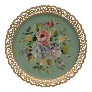Vintage Hand-Painted Tole Tray For Sale