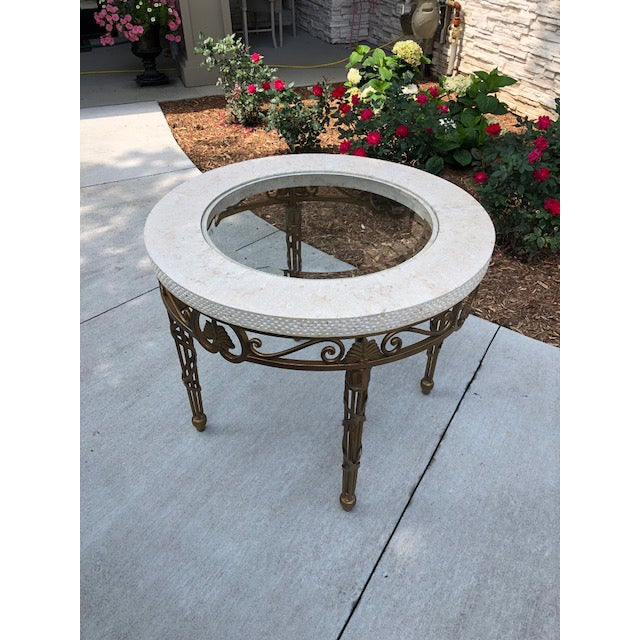2000 - 2009 Traditional Drexel Heritage Marble, Metal, and Glass Lamp Table For Sale - Image 5 of 8