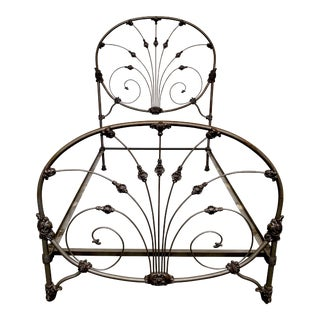 Vintage Victorian Cast Iron Queen Bedframe For Sale