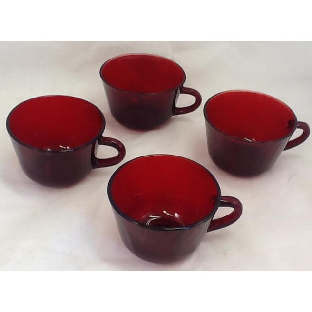 Vintage Cranberry Glass Cups - Set of 4 For Sale - Image 4 of 6
