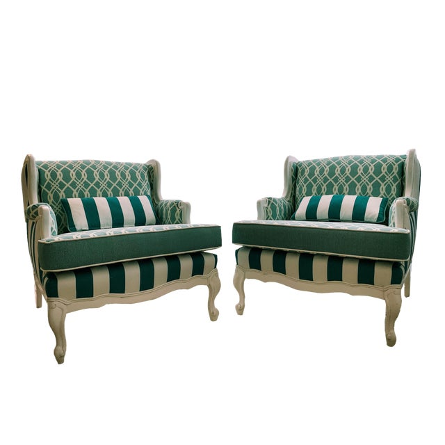 Hollywood Regency Cabana Striped Chairs - a Pair For Sale