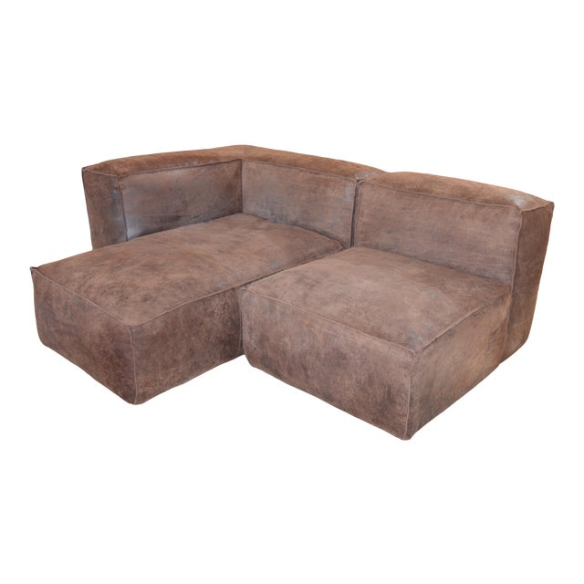 Modern Restoration Hardware Distressed Leather Sectional with Left Chaise + One Armchair For Sale