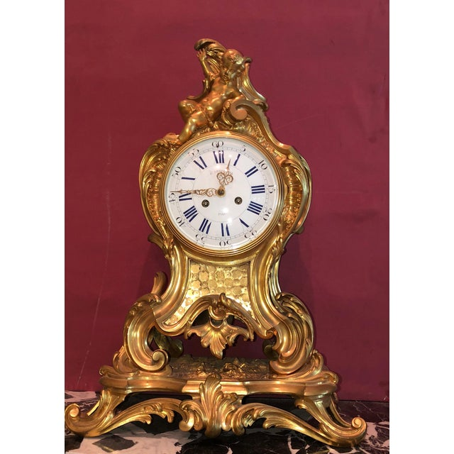 Mid 19th Century Antique f.f. F. Barbedienne Louis XV Mantle Clock For Sale - Image 13 of 13