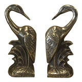 Image of Vintage Brass Heron Bookends - a Pair For Sale