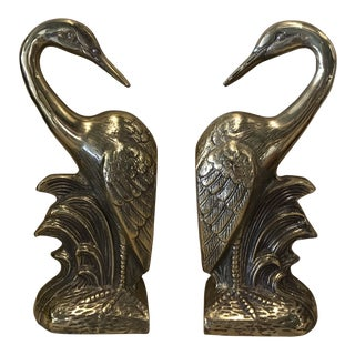 Vintage Brass Heron Bookends - a Pair For Sale