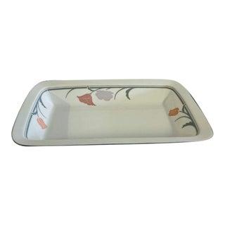 1990's Mid-Century Modern Dansk Tivoli Belles Fleur-Gray Pattern Rectangle Serving Bowl / Platter For Sale