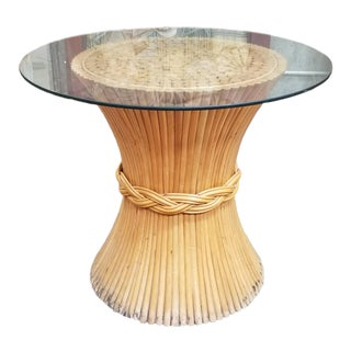 McGuire Bamboo Pedestal Dining Dinette Table For Sale