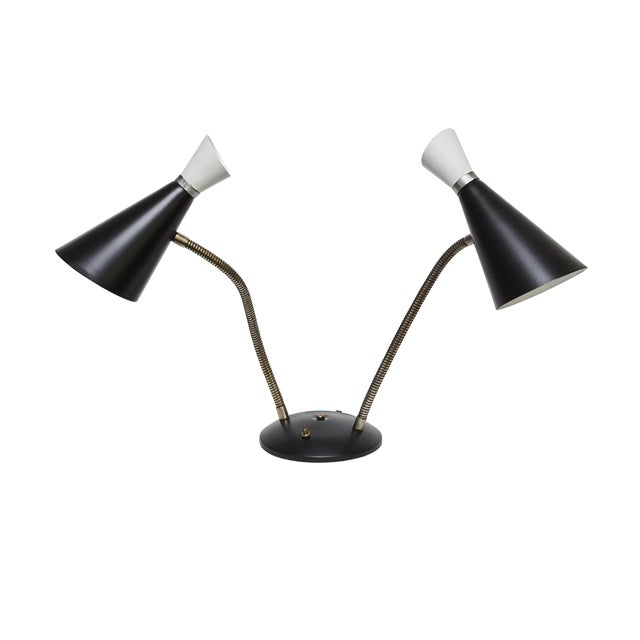 Mid-Century Double Goose Neck Desk Lamp For Sale