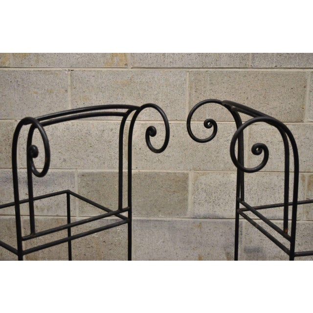 Wrought Iron Curule Frame Scroll Back Seat Bar Counter Stools - a Pair For Sale - Image 4 of 11