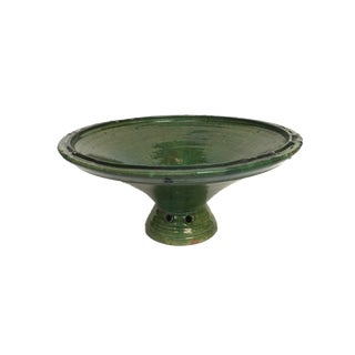 Vintage Green Glazed Stoneware Footed Bowl For Sale