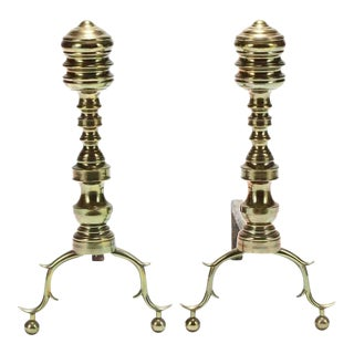 18th Century Chippendale Brass Andirons - A Pair For Sale
