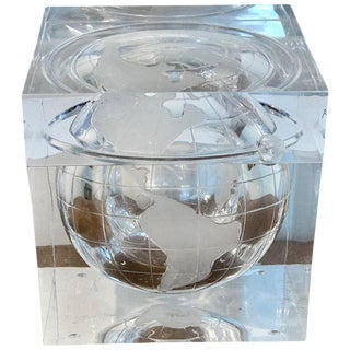 Midcentury Lucite Globe Motif Ice Bucket For Sale