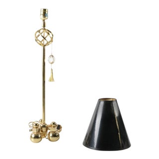 1990s Art Deco Brass Candlestick Accent Lamp With Black Shade - 2 Pieces
