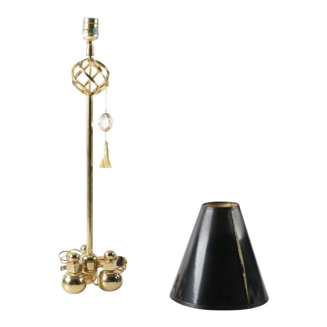 1990s Art Deco Brass Candlestick Accent Lamp With Black Shade - 2 Pieces For Sale