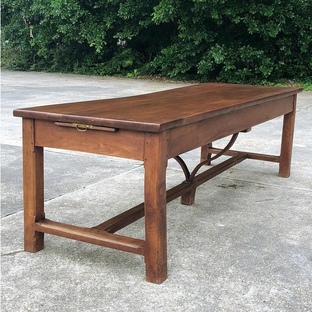 9th Century French Cherrywood Farm Table With Pair Benches For Sale - Image 9 of 13