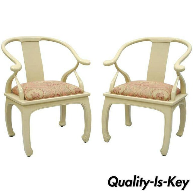 Vintage Cream Lacquered James Mont Style Ming Horseshoe Lounge Chairs - A Pair For Sale - Image 10 of 10