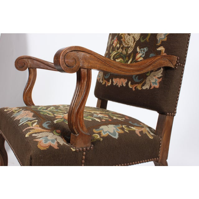1920s Needlepoint Fauteuil Floral W/Bird For Sale - Image 5 of 5