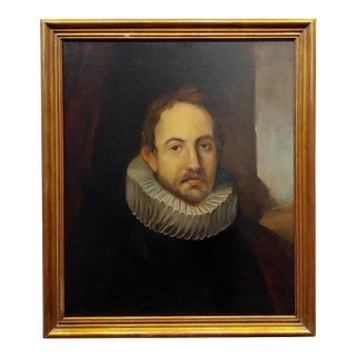 18th Century Portrait of a Spanish Gentleman With a Ruff Collar-Oil Painting For Sale