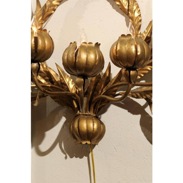 Hollywood Regency Italian Gilt Floral Wall Sconce - Image 2 of 3