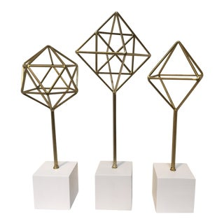 Geometric Metal Prism Sculptures- Set of 3 For Sale