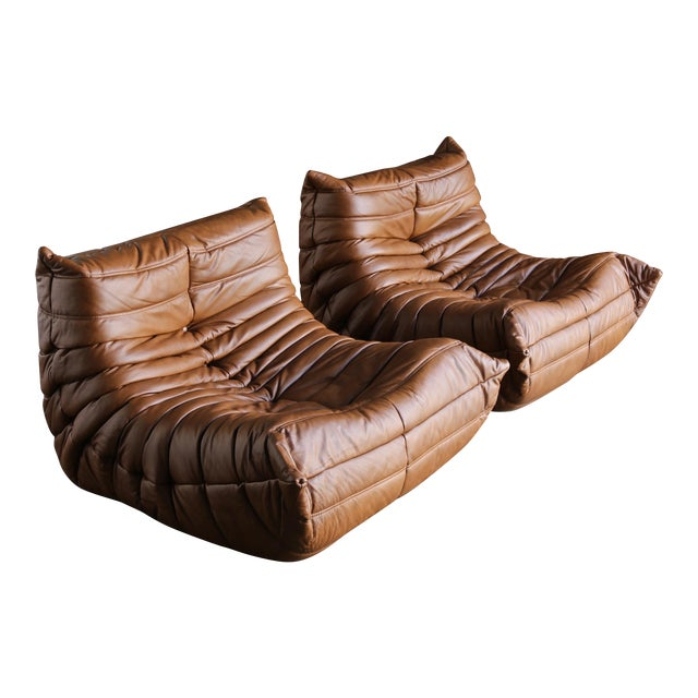 """Michel Ducaroy for Ligne Roset """"Togo"""" Leather Lounge Chairs - a Pair For Sale"""