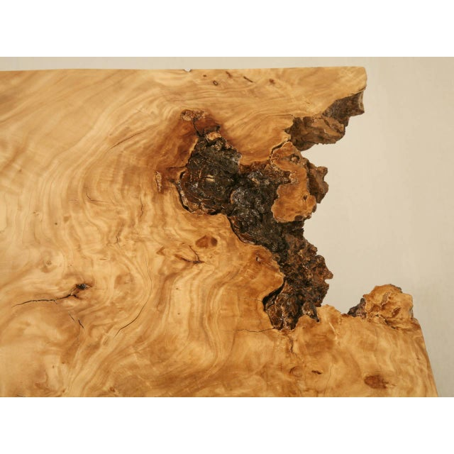 French Burl Elm Slab Dining Table, or Desk For Sale - Image 4 of 11