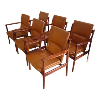 a fine set of six arn vodder palissandre armchairs
