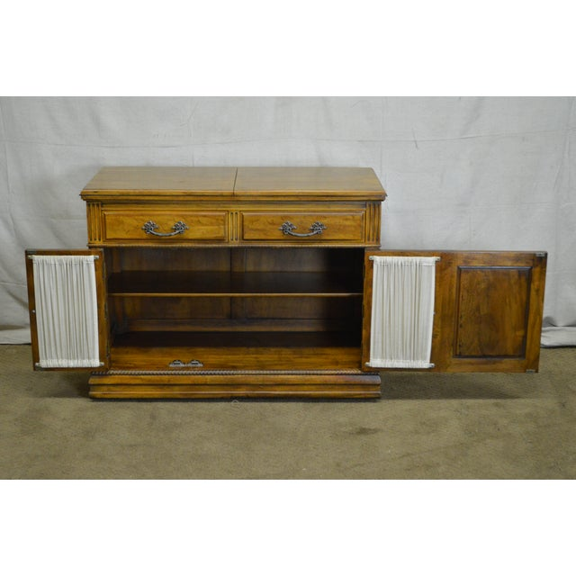Walnut Davis Cabinet Co. Solid Walnut French Provincial Flip Top Server For Sale - Image 7 of 11
