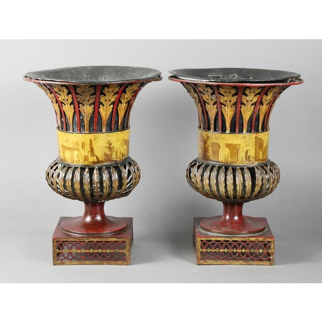 Pair of Regency Tole Urns For Sale - Image 9 of 11
