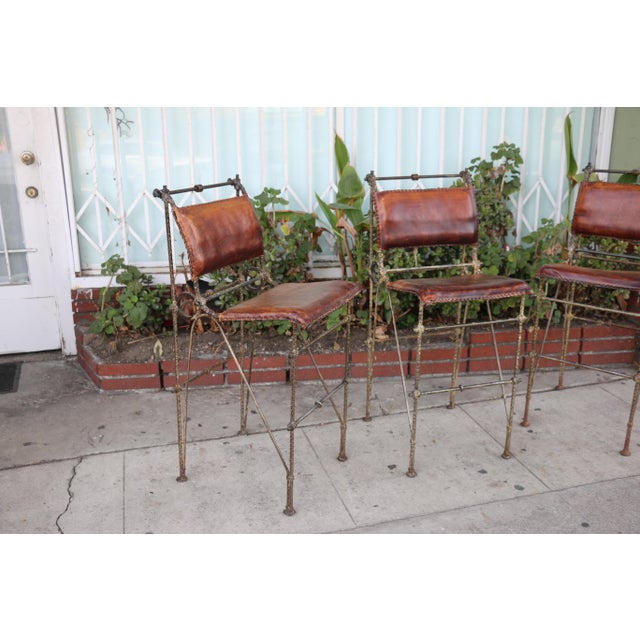 1970s Vintage Leather and Metal High Barstools- Set of 3 For Sale - Image 12 of 13