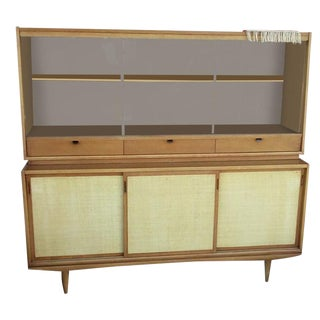 Mid-Century Cane Front Cabinet Hutch For Sale