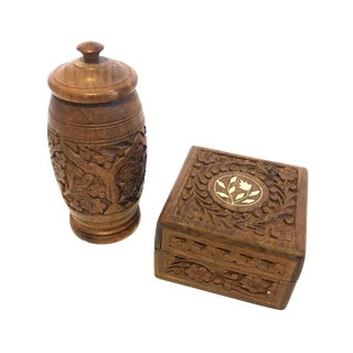 Carved Wooden Box and Canister - A Pair For Sale