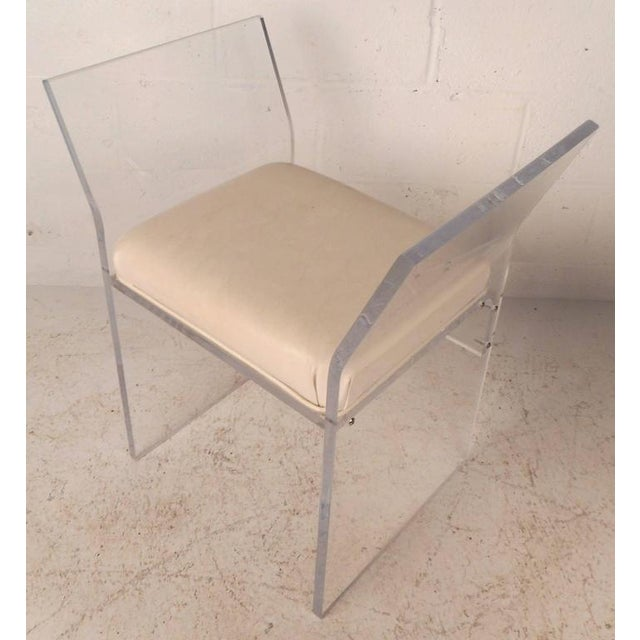 Mid-Century Modern Mid-Century Modern Vinyl and Lucite Bench For Sale - Image 3 of 6