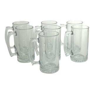 Vintage Heavy Glass Beer Mugs - Set of 7