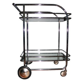Mid-Century Chrome and Glass Bar Cart For Sale