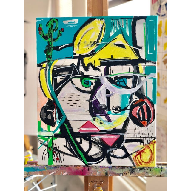 Jj Justice Contemporary Abstract Portrait Painting For Sale - Image 10 of 10