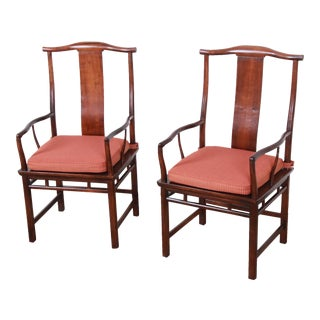 Michael Taylor for Baker Mid-Century Hollywood Regency Chinoiserie Walnut Armchairs, Pair For Sale