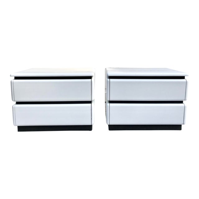 Pair of Roger Rougier Post-Modern Nightstands For Sale