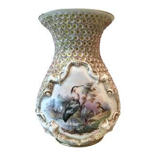 Tropical Chic Porcelain One Thousand Flower Heron/Crane Motif Vase For Sale