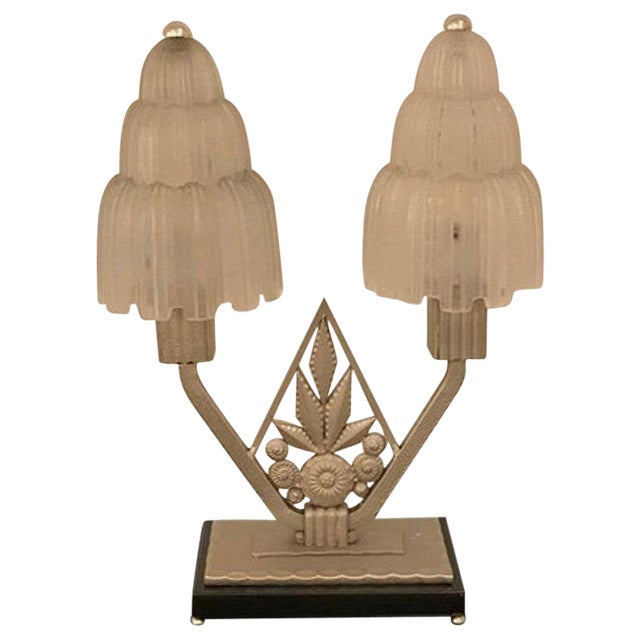 """French Art Deco """"Waterfall"""" Table Lamp Signed by Sabino For Sale"""