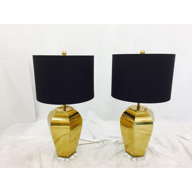 Vintage Brass & Lucite Base Lamps - Image 2 of 10